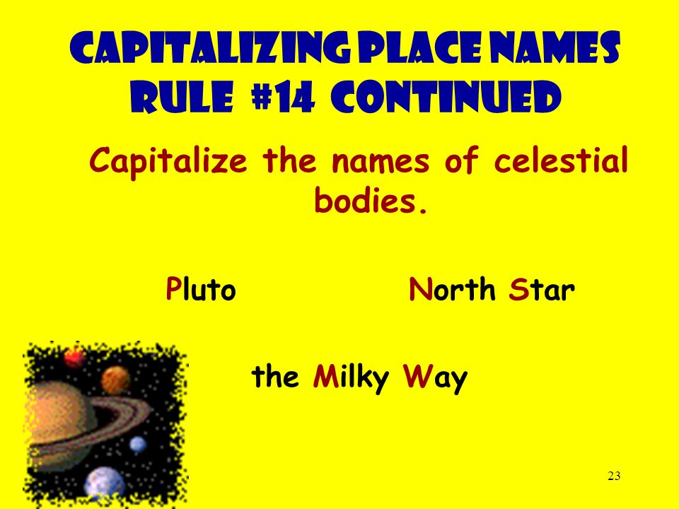 23 Capitalize the names of celestial bodies.