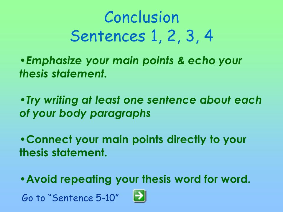Commentary –5 - 7 sentences minimum –Explain the meaning or significance of the quotation –Connect quotation or specific example back to your thesis –Write about your thesis directly in every body paragraph –Avoid referring to the quote as a quote; better to say: passage, statement, excerpt, or describe the character's thought, idea or what he/she expresses Conclusion