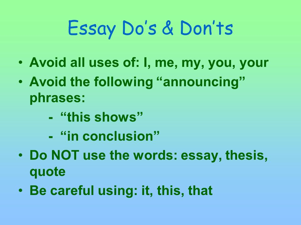 Reminders on Conclusions No QUOTES in a conclusion Mention the author(s) OR Title(s) OR character(s) at least once No need to repeat ALL authors and titles Think BIG PICTURE or REAL LIFE as you end your paper A 2 – 4 sentence conclusion is TOO SHORT!!!!.