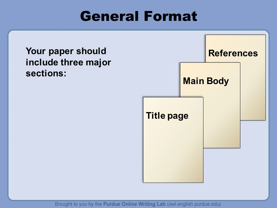 References Main Body General Format Title page Your paper should include three major sections: