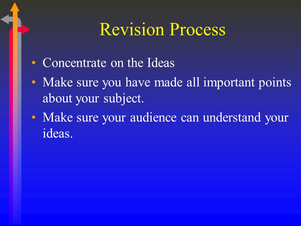 Revision Process Concentrate on the Ideas Make sure you have made all important points about your subject.