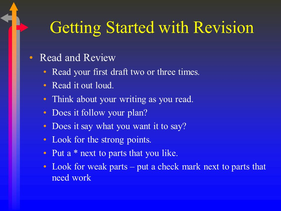 Getting Started with Revision Read and Review Read your first draft two or three times.