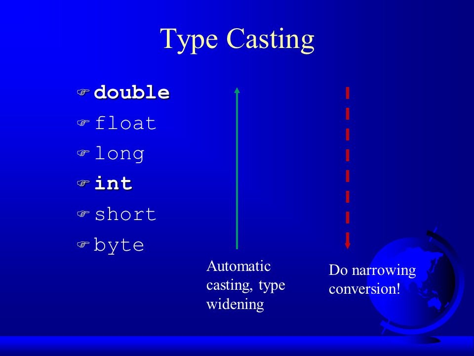 Type Casting F double F float F long F int F short  byte Automatic casting, type widening Do narrowing conversion!