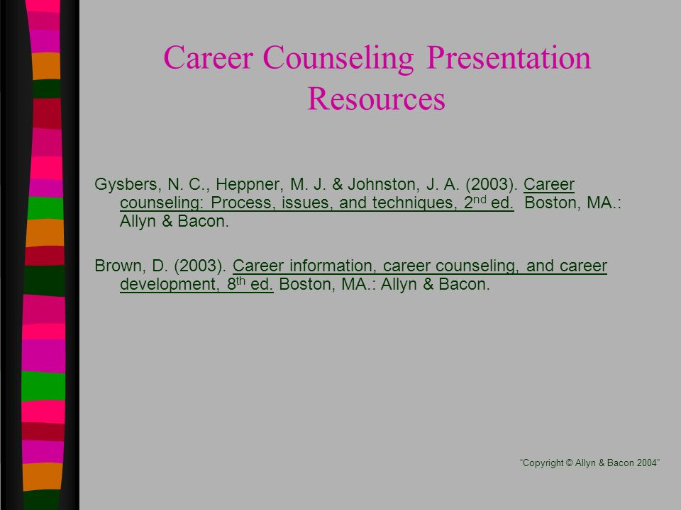 Career Counseling Presentation Resources Gysbers, N.