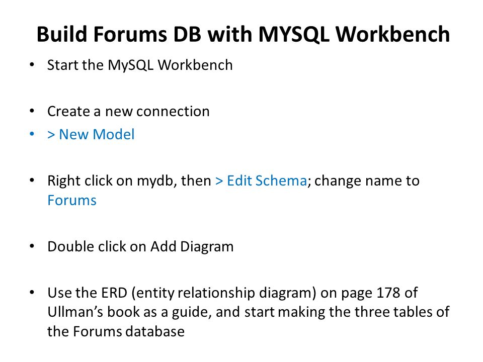 Creating Databases With Mysql Workbench Build The Forums Database In