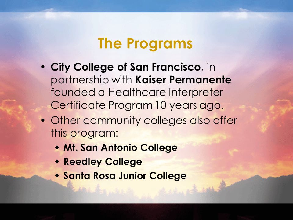 Healthcare Interpreter Certificate Program A Community College And