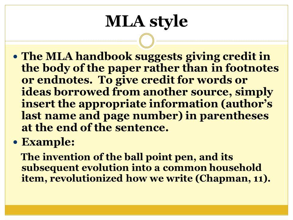mla footnotes example