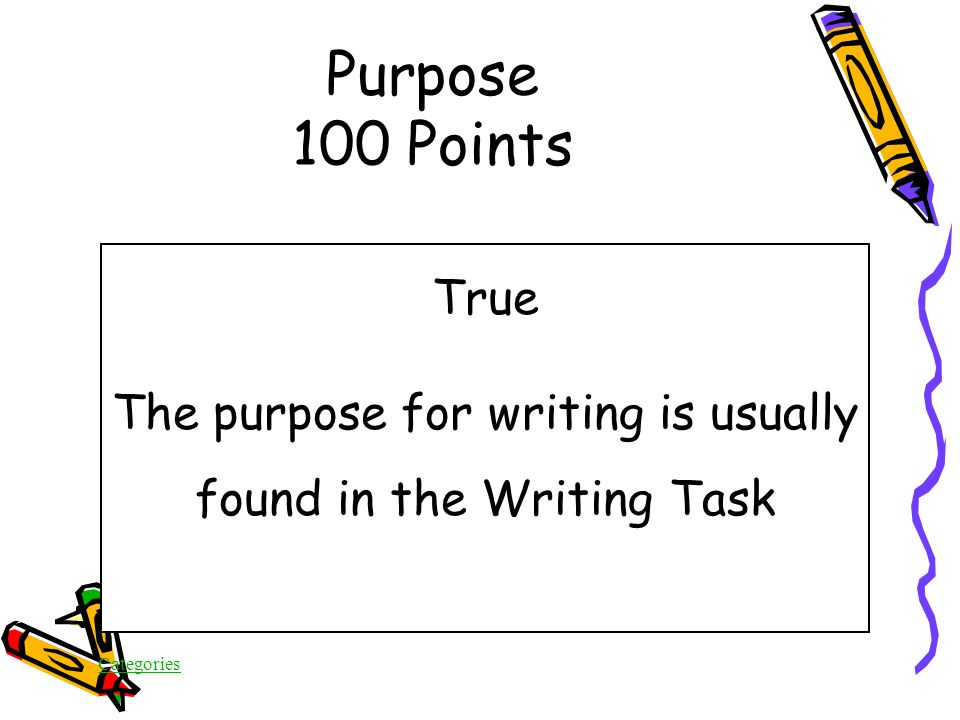 Categories True/False The purpose for writing is usually found in the Writing Task Purpose 100 Points