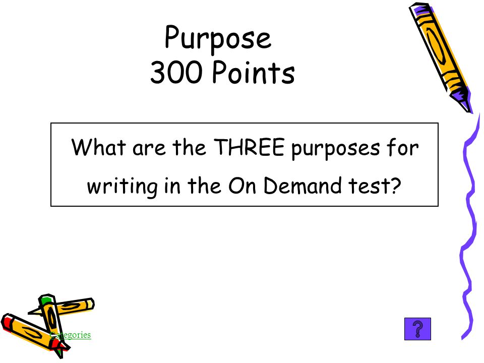 Categories False In the On Demand test, a writer will NOT be expected to write to entertain Purpose 200 Points