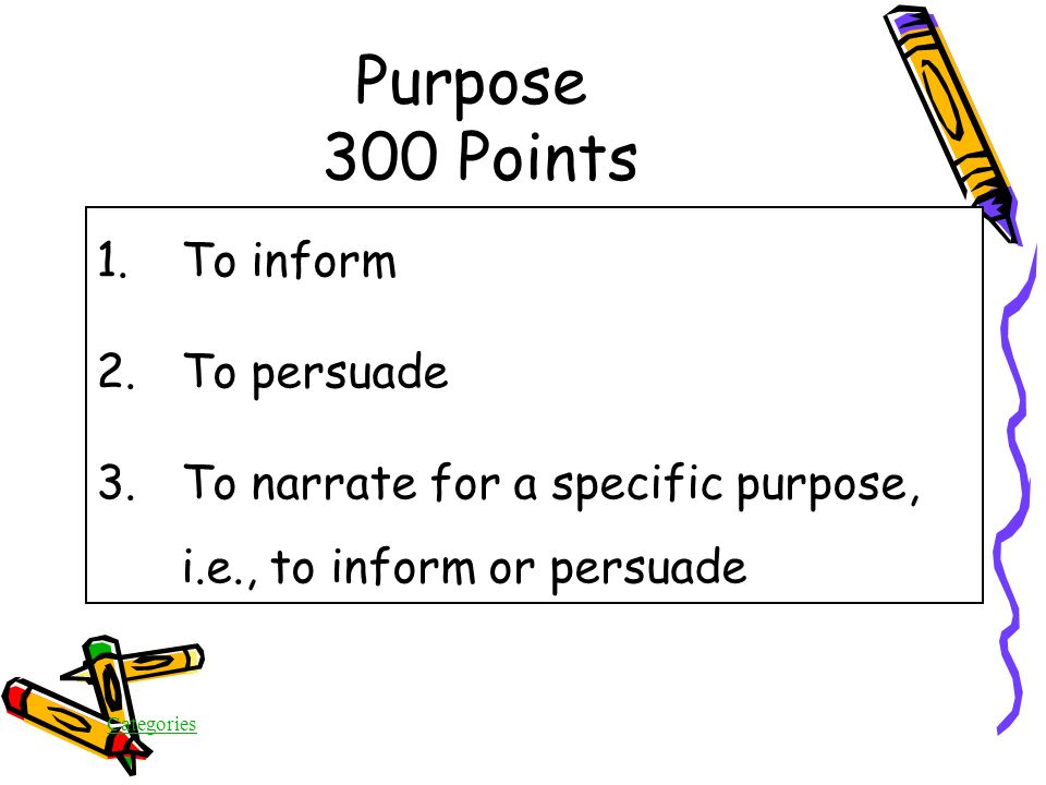 Categories Purpose 300 Points What are the THREE purposes for writing in the On Demand test