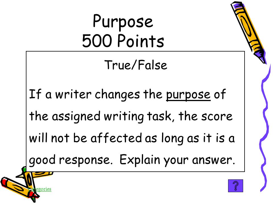 Categories To persuade someone to follow your example Purpose 400 Points