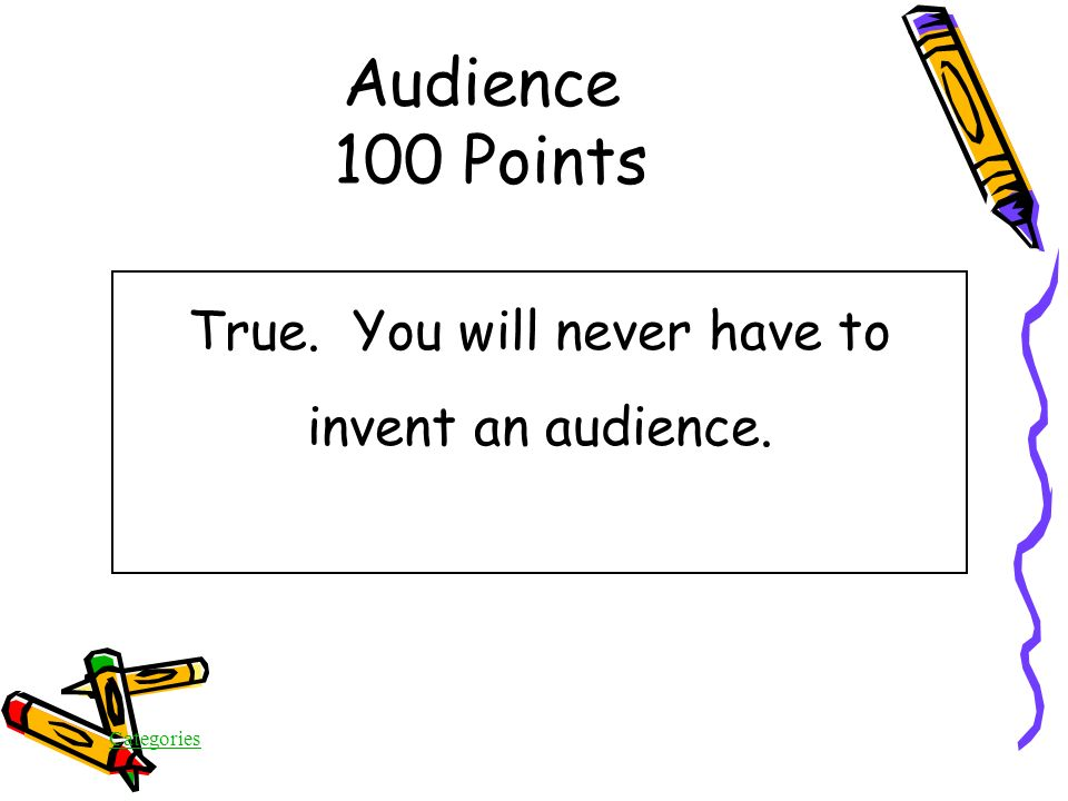 Categories True/False The audience is always given in On Demand writing tests Audience 100 Points