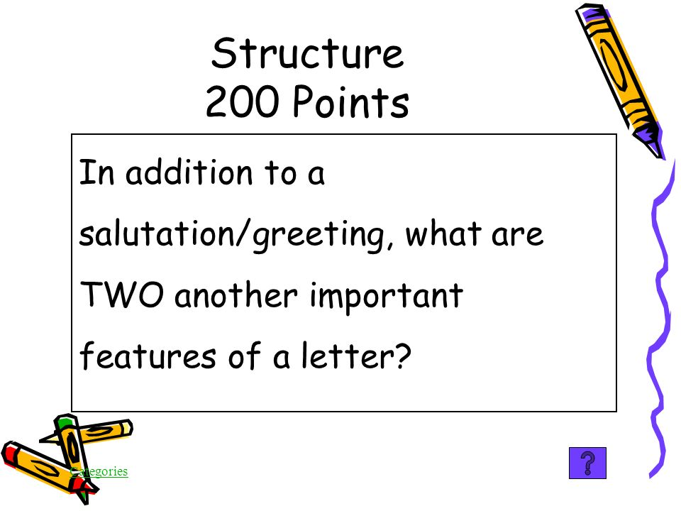 Categories Structure 100 Points True Subheadings guide the reader through the piece