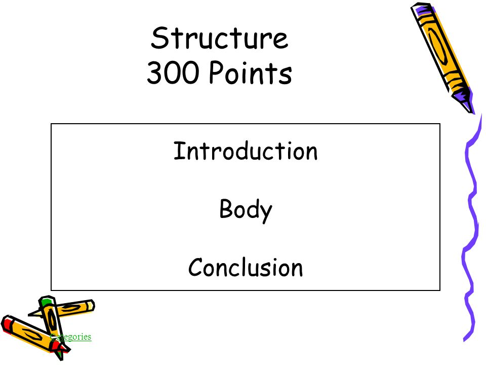 Categories Structure 300 Points What are the THREE most important structural components of all forms of writing