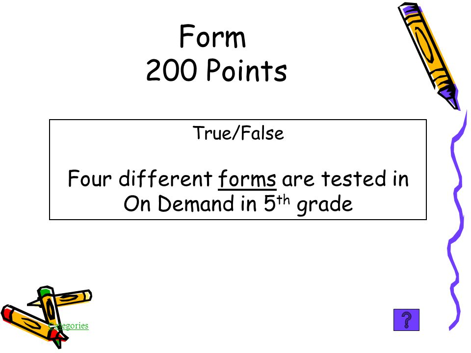 Categories Form 100 Points False The writer is being tested on knowledge of the form, i.e., letter, article