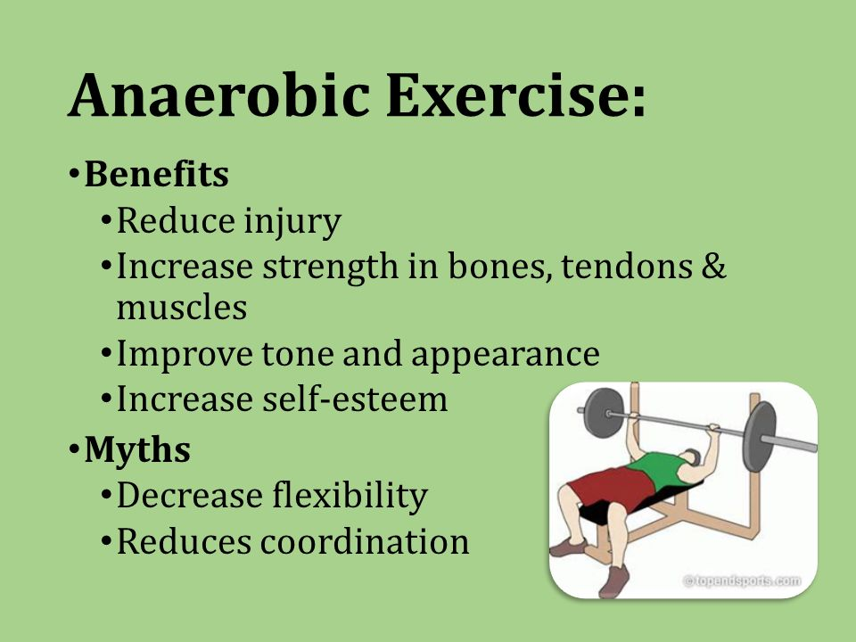 Anaerobic Exercise: Benefits Reduce injury Increase strength in bones, tendons & muscles Improve tone and appearance Increase self-esteem Myths Decrease flexibility Reduces coordination