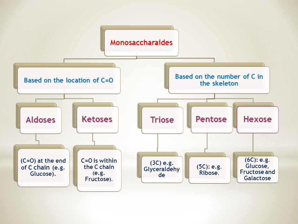 Monosaccharaides Based on the location of C=O Aldoses C (C=O) at the end of C chain (e.g.