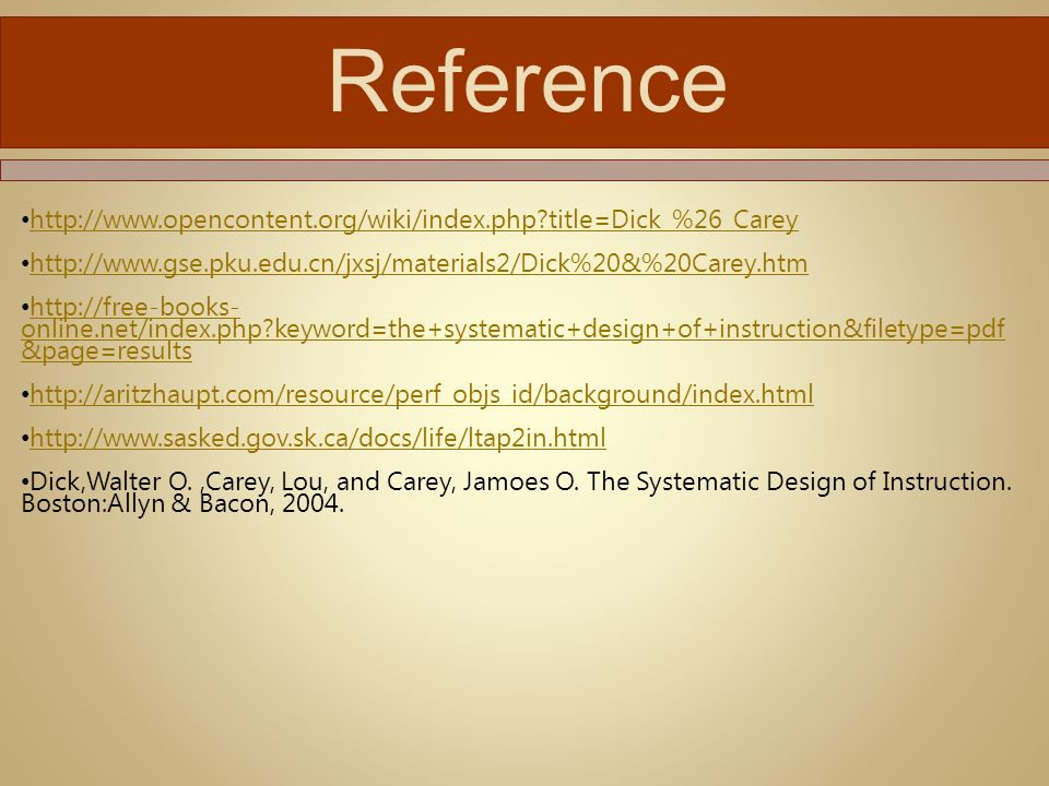 1 Qim 501 Instructional Design And Delivery Dick Carey