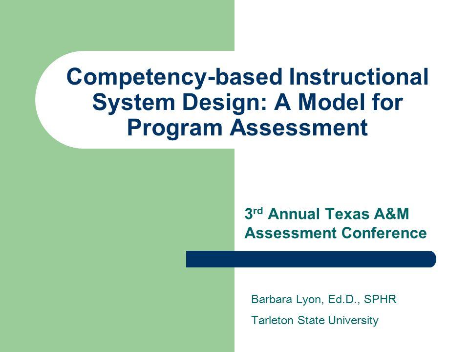 Competency Based Instructional System Design A Model For Program