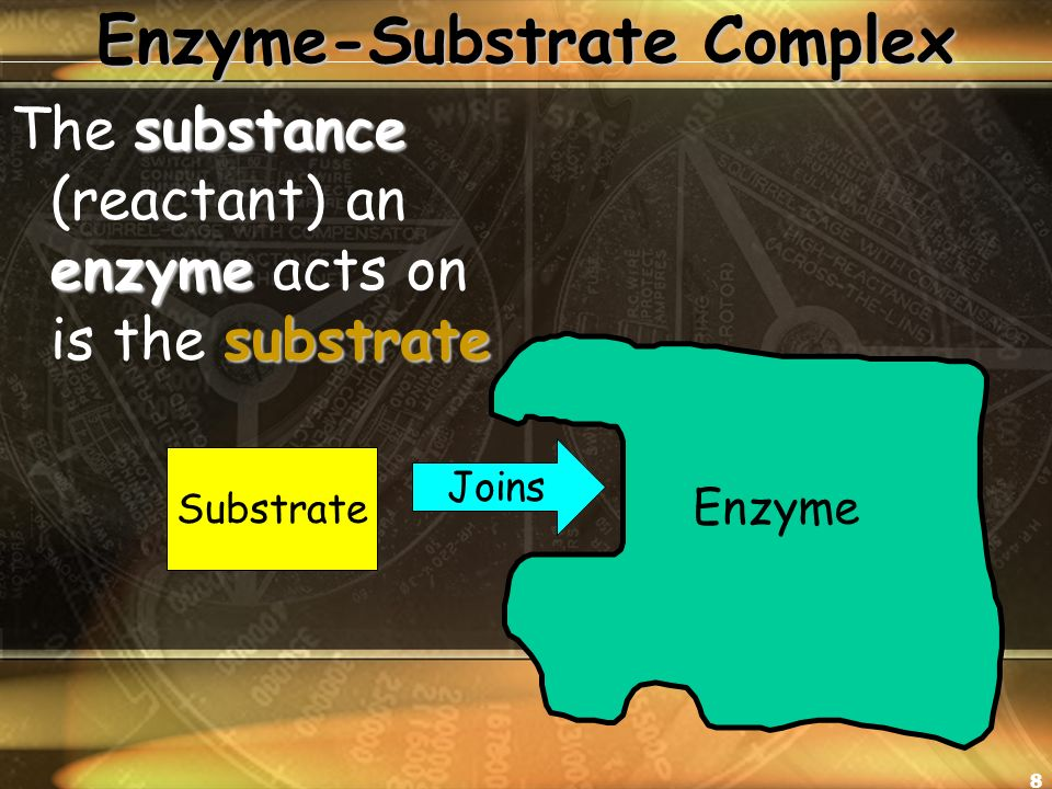 8 Enzyme-Substrate Complex substance enzyme substrate The substance (reactant) an enzyme acts on is the substrate Enzyme Substrate Joins
