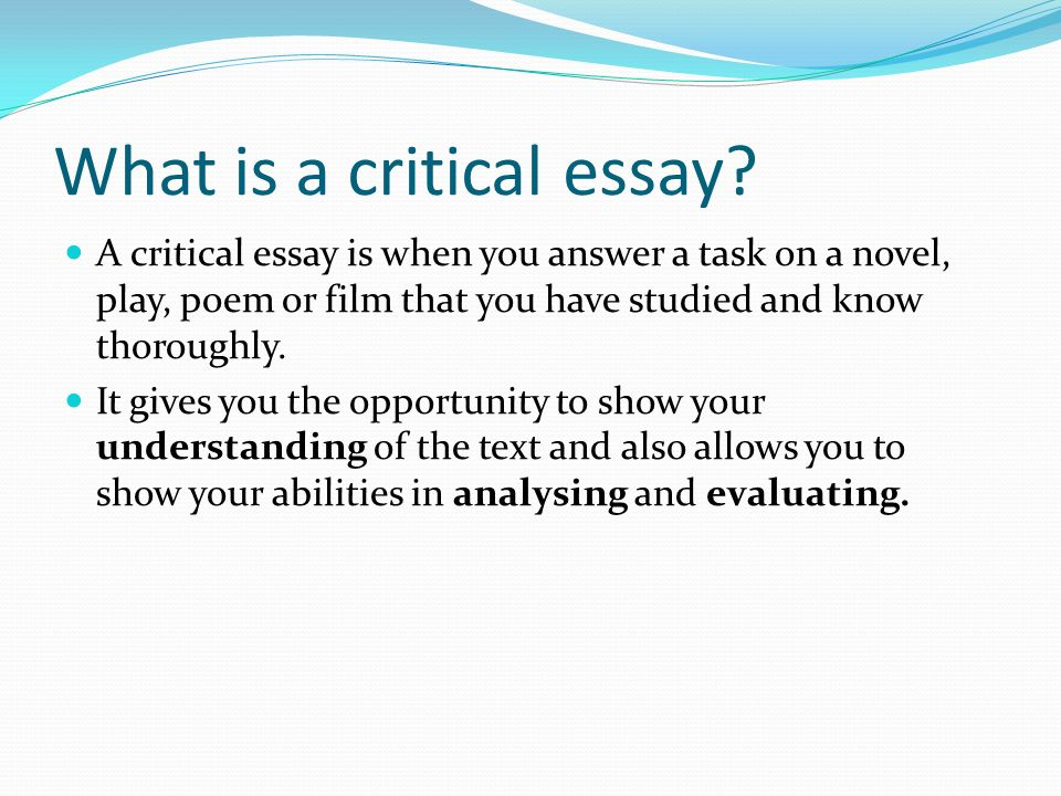 What is a critical essay.