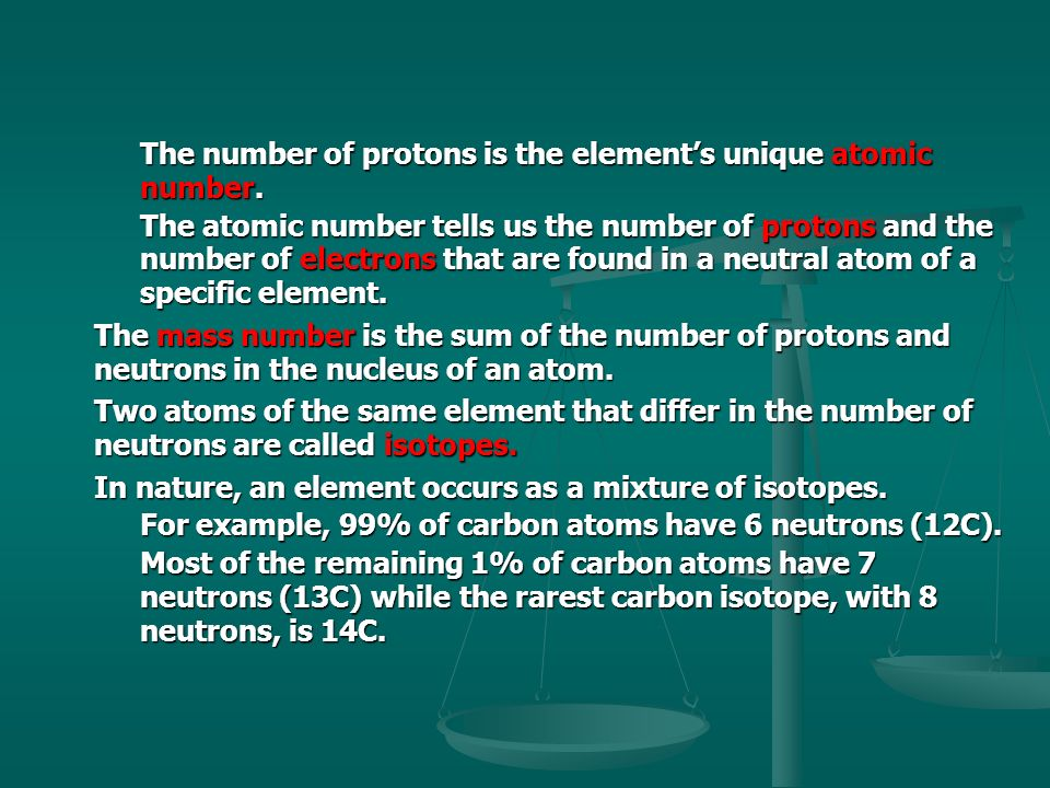 The number of protons is the element's unique atomic number.