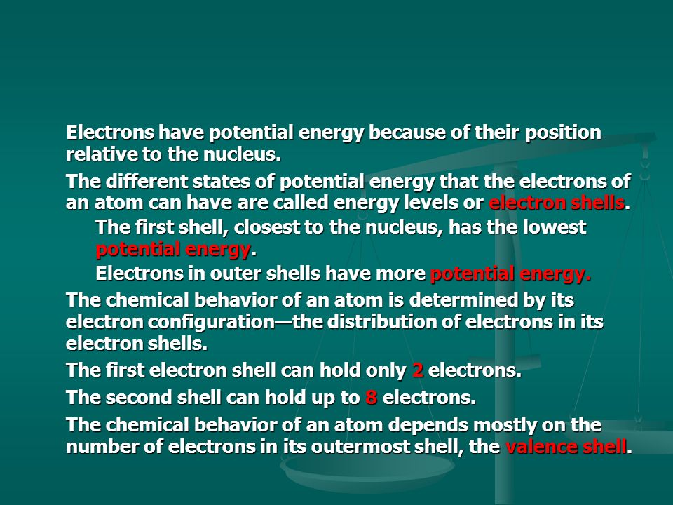 Electrons have potential energy because of their position relative to the nucleus.