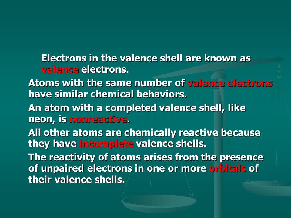 Electrons in the valence shell are known as valence electrons.