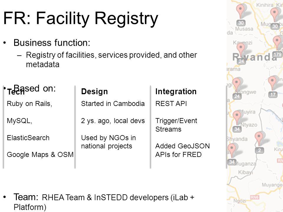 RHEA Facility Registry Kigali, Sept 23  FR: Facility
