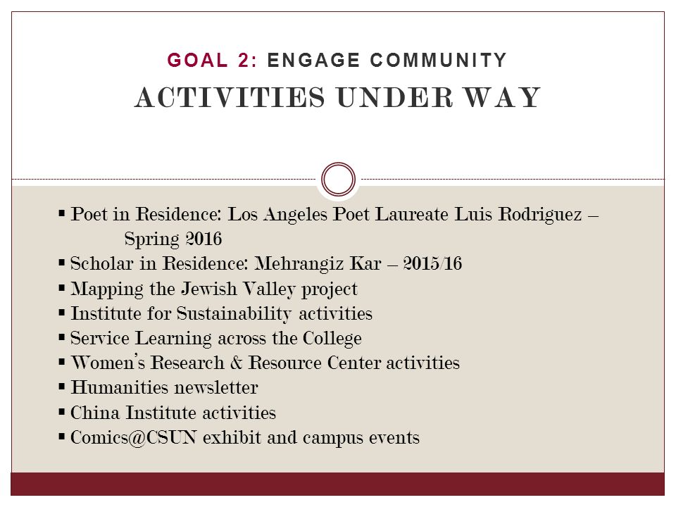 GOAL 2: ENGAGE COMMUNITY ACTIVITIES UNDER WAY  Poet in Residence: Los Angeles Poet Laureate Luis Rodriguez – Spring 2016  Scholar in Residence: Mehrangiz Kar – 2015/16  Mapping the Jewish Valley project  Institute for Sustainability activities  Service Learning across the College  Women's Research & Resource Center activities  Humanities newsletter  China Institute activities  exhibit and campus events