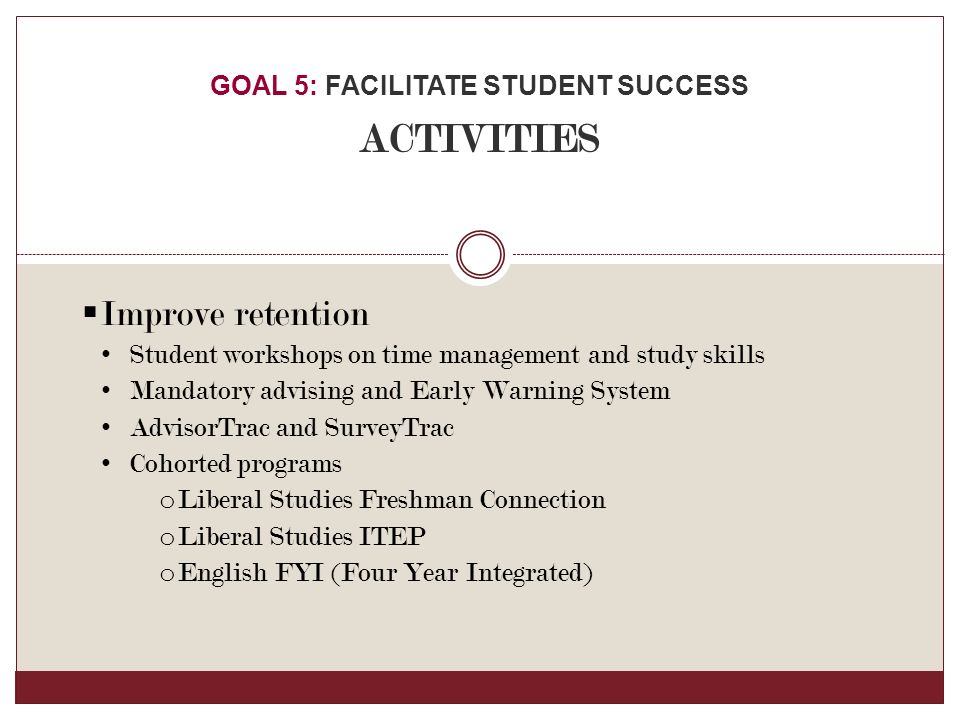  Improve retention Student workshops on time management and study skills Mandatory advising and Early Warning System AdvisorTrac and SurveyTrac Cohorted programs o Liberal Studies Freshman Connection o Liberal Studies ITEP o English FYI (Four Year Integrated) GOAL 5: FACILITATE STUDENT SUCCESS ACTIVITIES