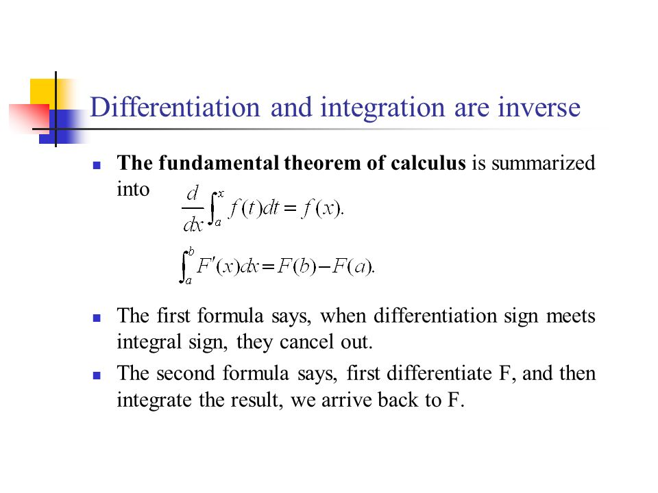 Differentiation and integration are inverse The fundamental theorem of calculus is summarized into The first formula says, when differentiation sign meets integral sign, they cancel out.