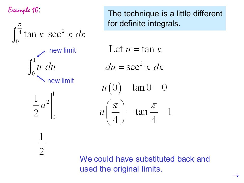 Example 10 : The technique is a little different for definite integrals.