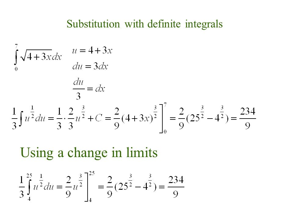 Substitution with definite integrals Using a change in limits