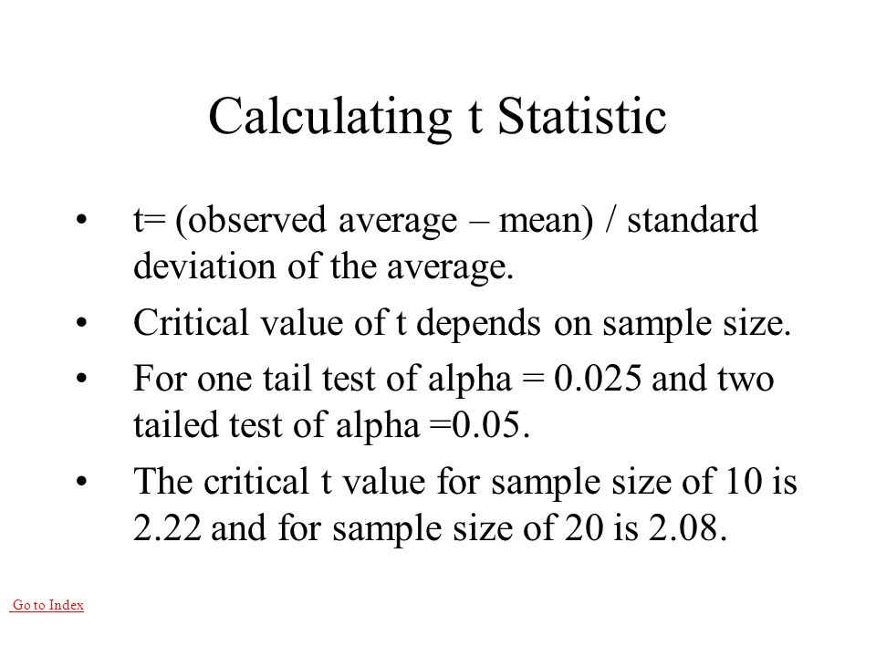 Go to Index Calculating t Statistic t= (observed average – mean) / standard deviation of the average.