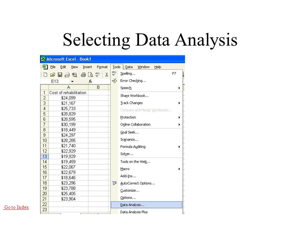 Go to Index Selecting Data Analysis