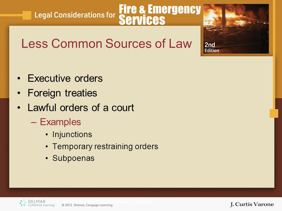 Copyright © 2007 Thomson Delmar Learning Less Common Sources of Law Executive orders Foreign treaties Lawful orders of a court –Examples Injunctions Temporary restraining orders Subpoenas