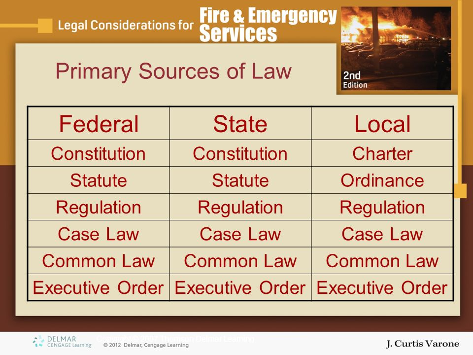 Copyright © 2007 Thomson Delmar Learning Primary Sources of Law FederalStateLocal Constitution Charter Statute Ordinance Regulation Case Law Common Law Executive Order