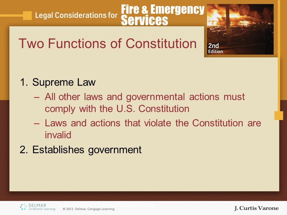 Copyright © 2007 Thomson Delmar Learning Two Functions of Constitution 1.Supreme Law –All other laws and governmental actions must comply with the U.S.