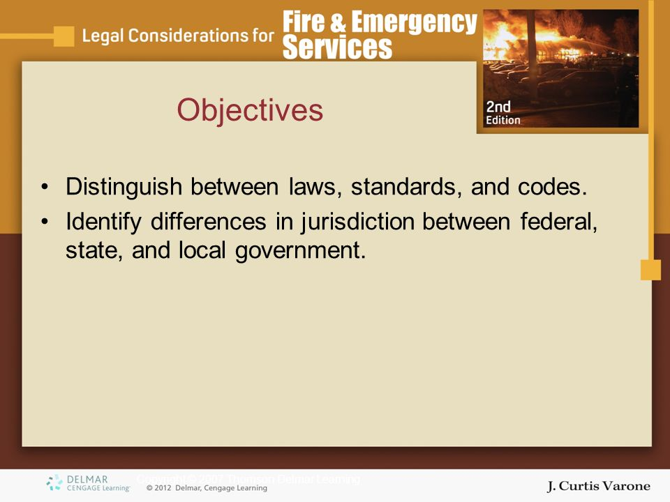 Copyright © 2007 Thomson Delmar Learning Objectives Distinguish between laws, standards, and codes.