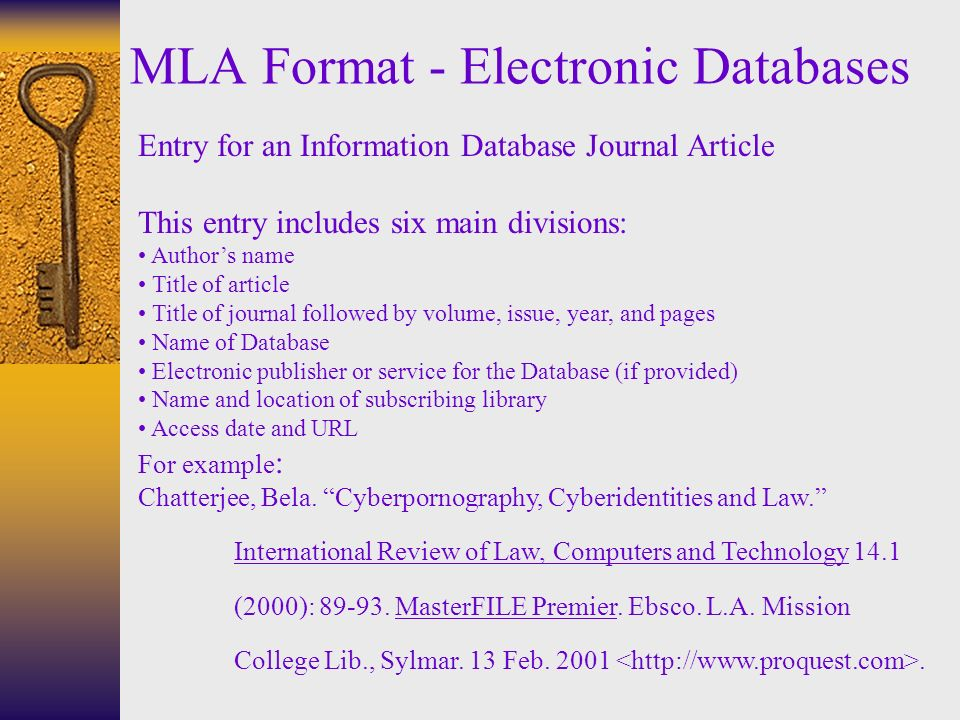 MLA Format Electronic Databases Entry For An Information Database