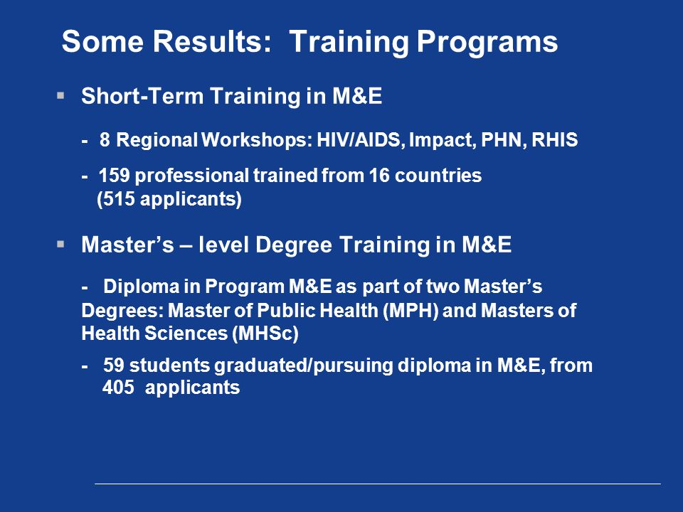 Some Results: Training Programs  Short-Term Training in M&E - 8 Regional Workshops: HIV/AIDS, Impact, PHN, RHIS professional trained from 16 countries (515 applicants)  Master's – level Degree Training in M&E - Diploma in Program M&E as part of two Master's Degrees: Master of Public Health (MPH) and Masters of Health Sciences (MHSc) - 59 students graduated/pursuing diploma in M&E, from 405 applicants