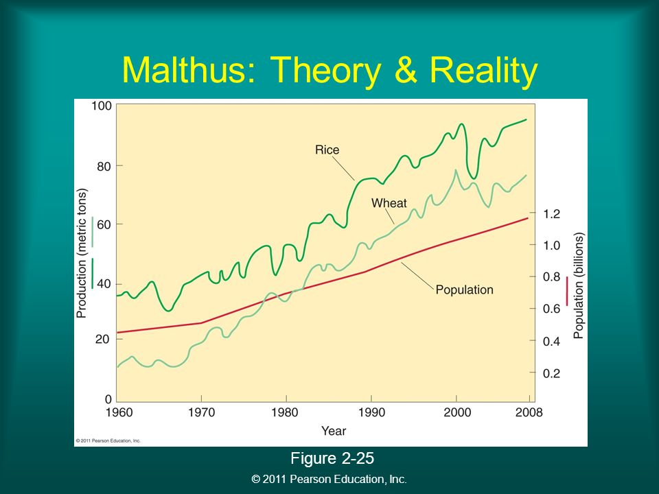 © 2011 Pearson Education, Inc. Malthus: Theory & Reality Figure 2-25