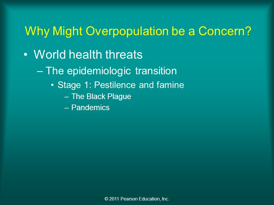 © 2011 Pearson Education, Inc. Why Might Overpopulation be a Concern.