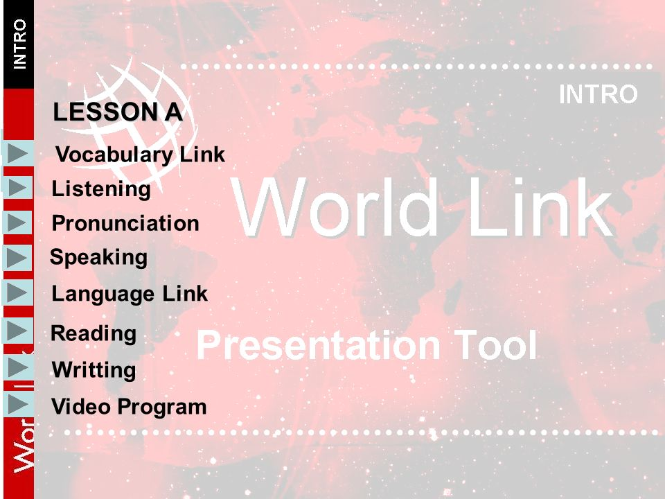 Vocabulary Link Listening Pronunciation Speaking Language Link LESSON A Writting Reading Video Program