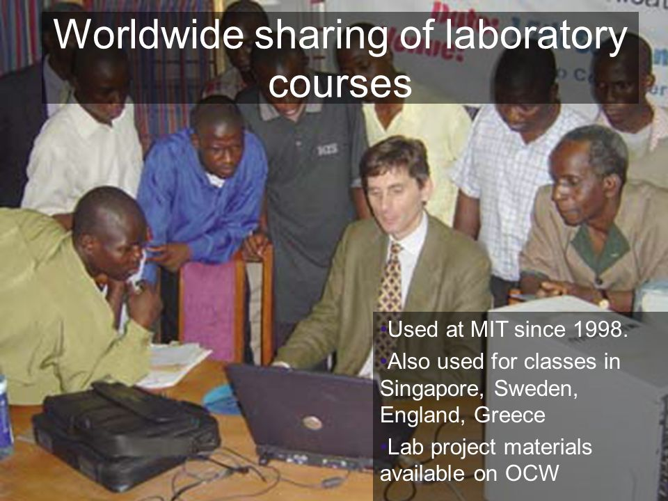 24 Worldwide sharing of laboratory courses Used at MIT since 1998.