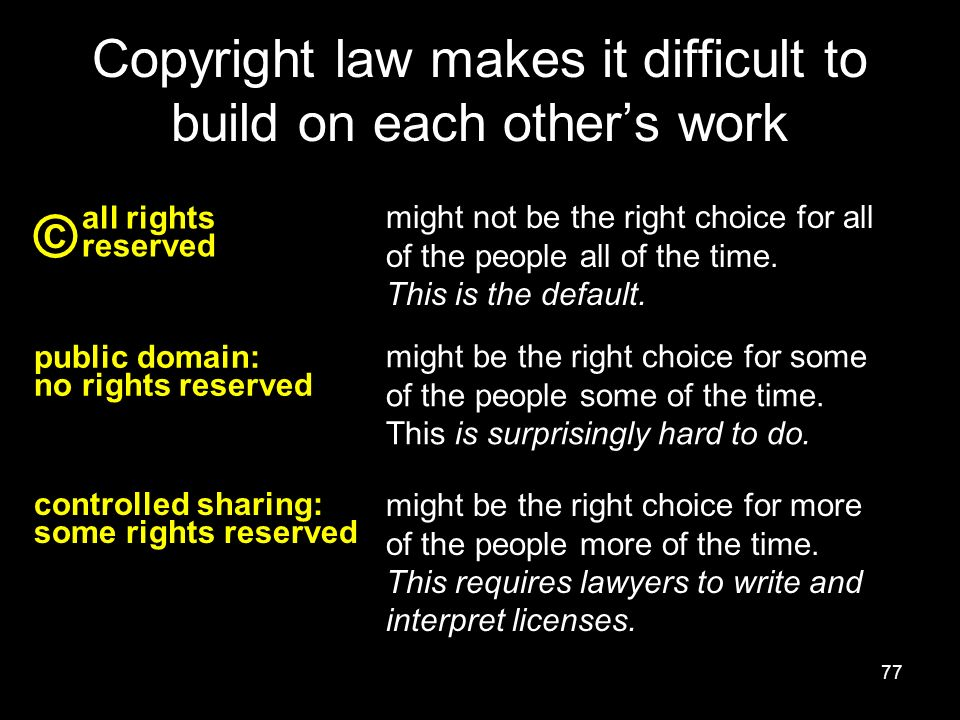 77 Copyright law makes it difficult to build on each other's work all rights reserved © might not be the right choice for all of the people all of the time.