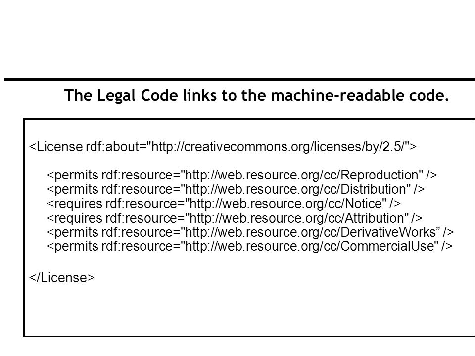 84 The Legal Code links to the machine-readable code.
