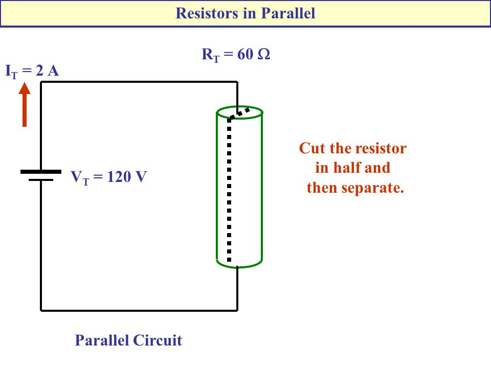 R T = 60  V T = 120 V I T = 2 A Parallel Circuit Cut the resistor in half and then separate.