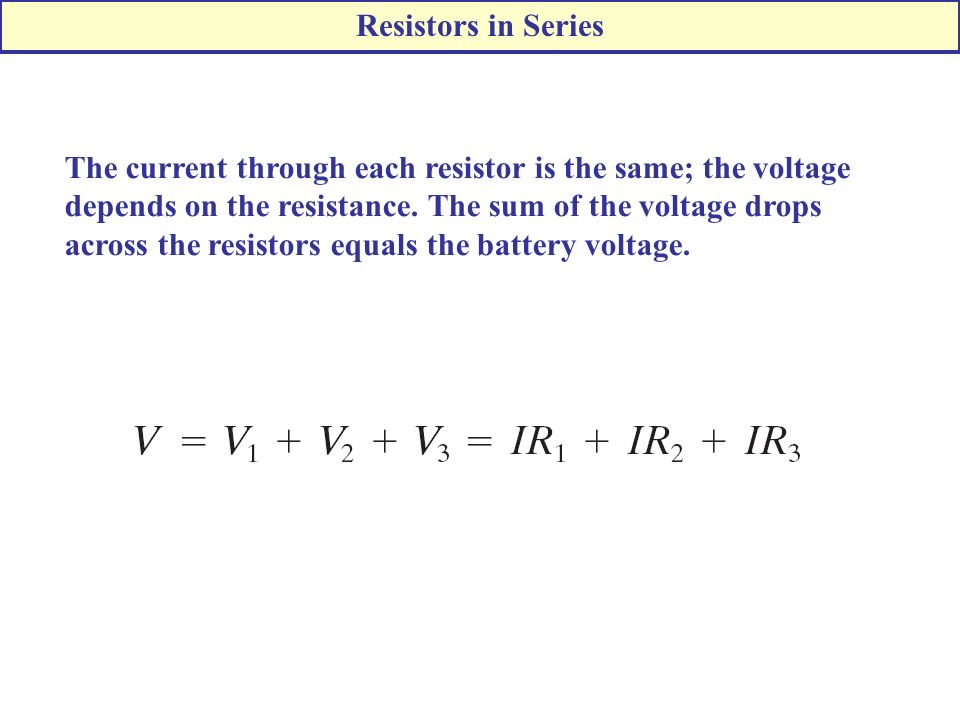 The current through each resistor is the same; the voltage depends on the resistance.
